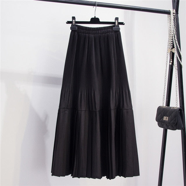 LANMREM 2020 Autumn New Solid Color Large Swing High Waist Pleated Skirt In The Long Section Stitching A-line Skirt PB436