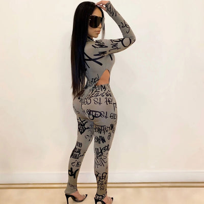 Kricesseen Casual Print Letter Two Pieces Pant Set Women Tracksuit Long Sleeve Bodysuit And Long Pants Suits Two Piece Outfits