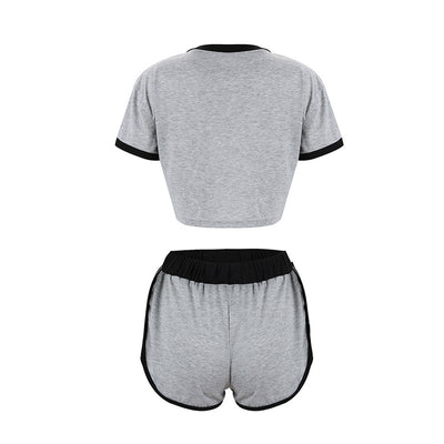 2Pcs Womens Summer Tracksuit T-Shirt Short Pants Sets Sport Wear Casual Suit Fashion Solid Loose Shorts Tops Sport Fitness Set