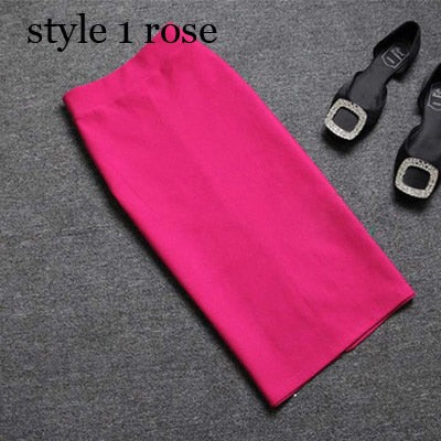 High quality skirts womens 2020 Office Skirt Women Slim Knee Length High Waist Stretch Cotton Straight Pencil Skirts