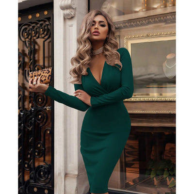 2020 Plus Size Women Bandage Bodycon Dress Office Lady OL Clothes Summer Long Sleeve V Neck Sexy Party Cocktail Short Dress