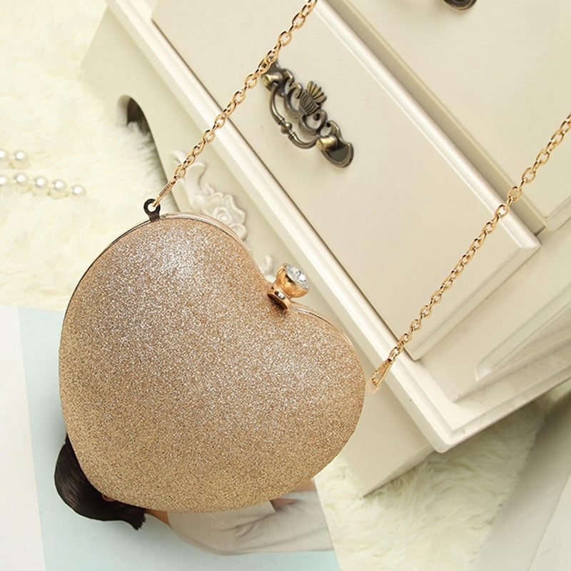LJL-Women Heart Pearl Bag Fashion Evening Bag Part Time Must Have Bag Best Chain Shoulder Messenger Bag Mobile Phone Case