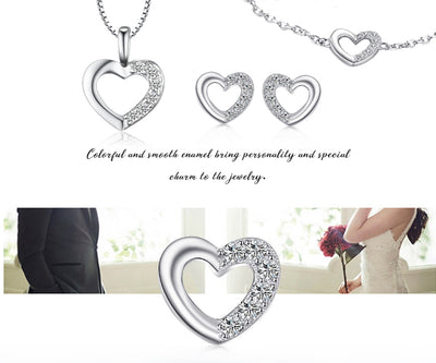 JewelryPalace Heart Sterling Silver Pendant Necklace 925 Sterling Silver Chain Choker Statement Collar Necklace Women 45cm