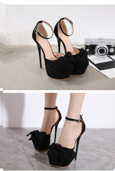 Aneikeh Sexy Pumps Shoes Woman Fetish Ultra High Heels For Women Platform Stripper Bowknot Buckle Pumps Party Shoes Thin Heels
