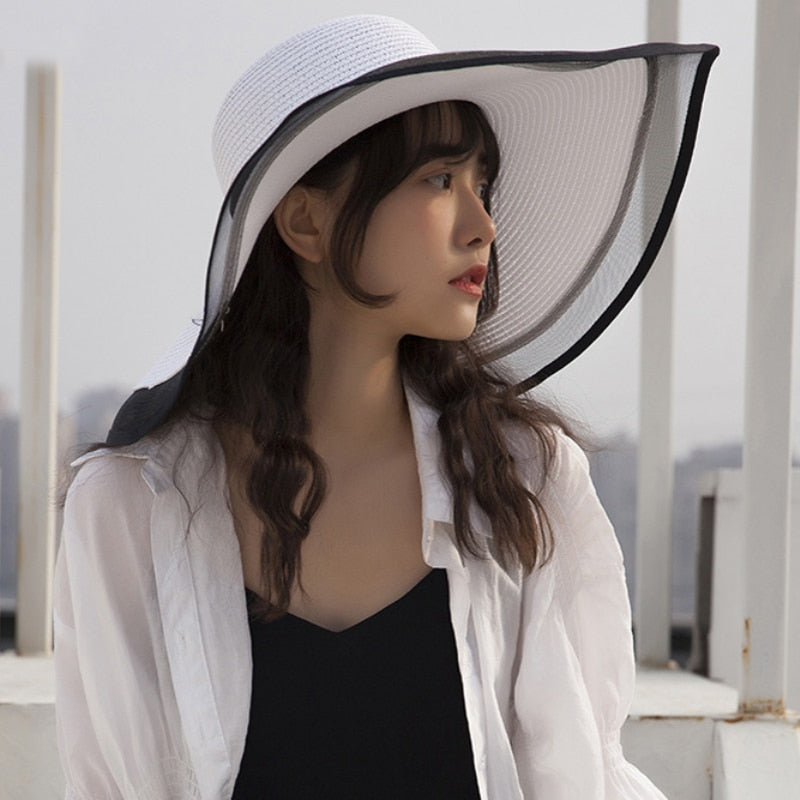 HT2504 Sun Hat Summer anti-UV Lady Wide Brim Hat Women Solid Plain Floppy Summer Straw Hats for Women Female Mesh Brim Beach Hat