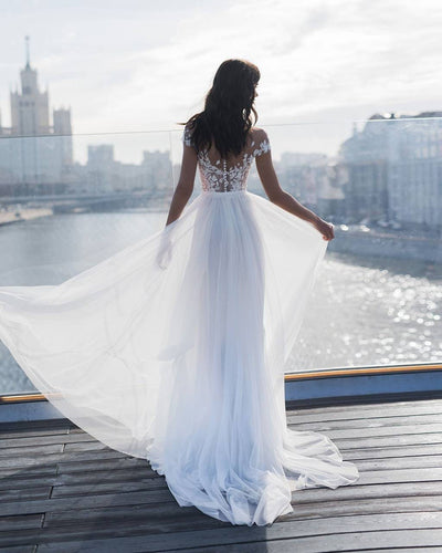 Sexy Sheer Scoop Neck Short Sleeves Tulle Wedding Dress with Side Slit Lace