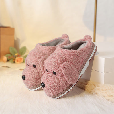 YMECHIC Plus Size 10 Cartoon Dog Faux Fur Furry Slippers Winter House Mules Shoes Women Pink Apricot Warm Indoor Home Slides 43
