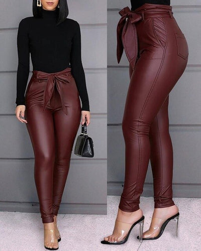 CHRLEISURE Fashion Casual PU Pants Black Lace Up Leather Pants High Waist Bow Trousers Women
