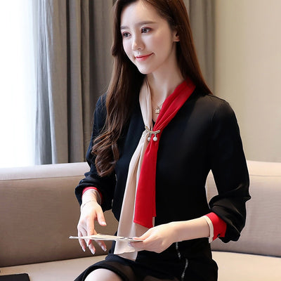 Casual V-neck Office Lady Blouse Vintage Chiffon Blouse Solid Long Sleeve Women Tops and Blouse 2020 Spring Clothes 8458 50