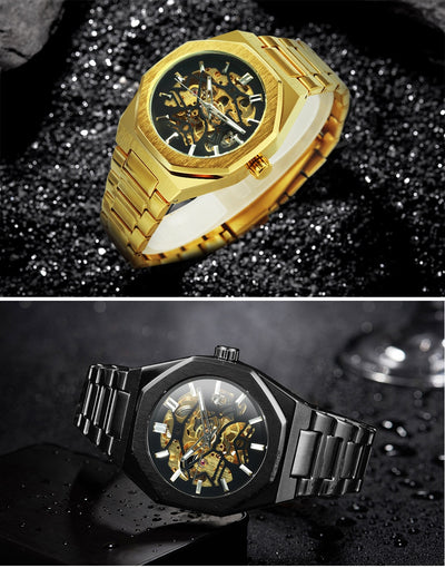 WINNER Official Golden Automatic Watch Men Steel Strap Skeleton Mechanical Skull Watches Top Brand Luxury Dropshipping Wholesale