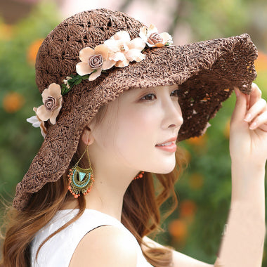 HT1683 Korea Style Summer Hats for Women Flower Garland Wide Brim Beach Cap Hat Packable Crochet Floppy Sun Hat Ladies Straw Hat