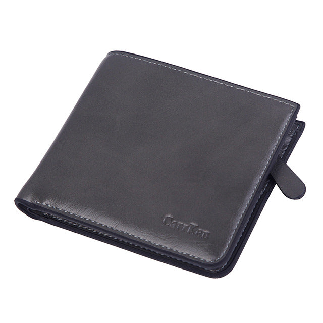 Vintage Leather Wallet Men Short Bifold Oil Leather Mens Wallets Zipper Dollar Money Bag Business Small Purese Card Holders Male