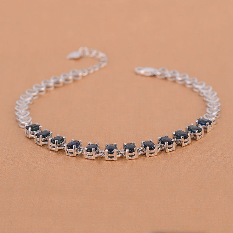 MeiBaPJ Natural Sapphire Gemstone Bracelet 925 Sterling Silver Blue Stone Bangle for Women Fine Wedding Jewelry