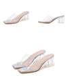 2020 Summer Fashion Silver Snake grain Sexy PVC Transparent Peep Toe Clear Crystal Low Heel 5cm Women Outdoor Slippers