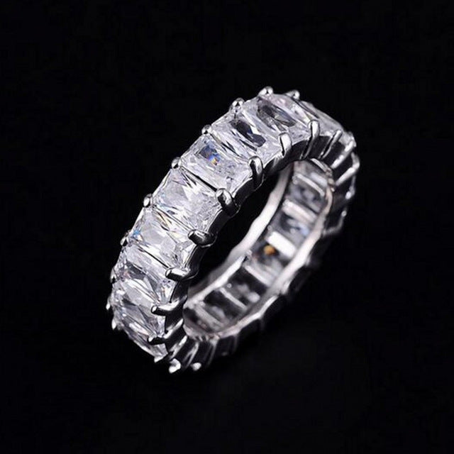 925 SILVER PAVE SETTING FULL SQUARE Simulated Diamond ENGAGEMENT WEDDING RING