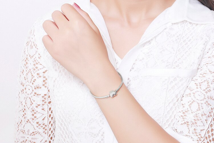 New Fine 16-20cm Solid 925 Silver Snake Chain Bracelet Fit Original Charm Bracelet Bangle for Women DIY Jewelry Making