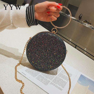 YYW Clutch Pink Gillter Handbag Wedding Evening Women Clutch Round Bag Circular Ring Purses Handbags Crossbody Party Metal Bags