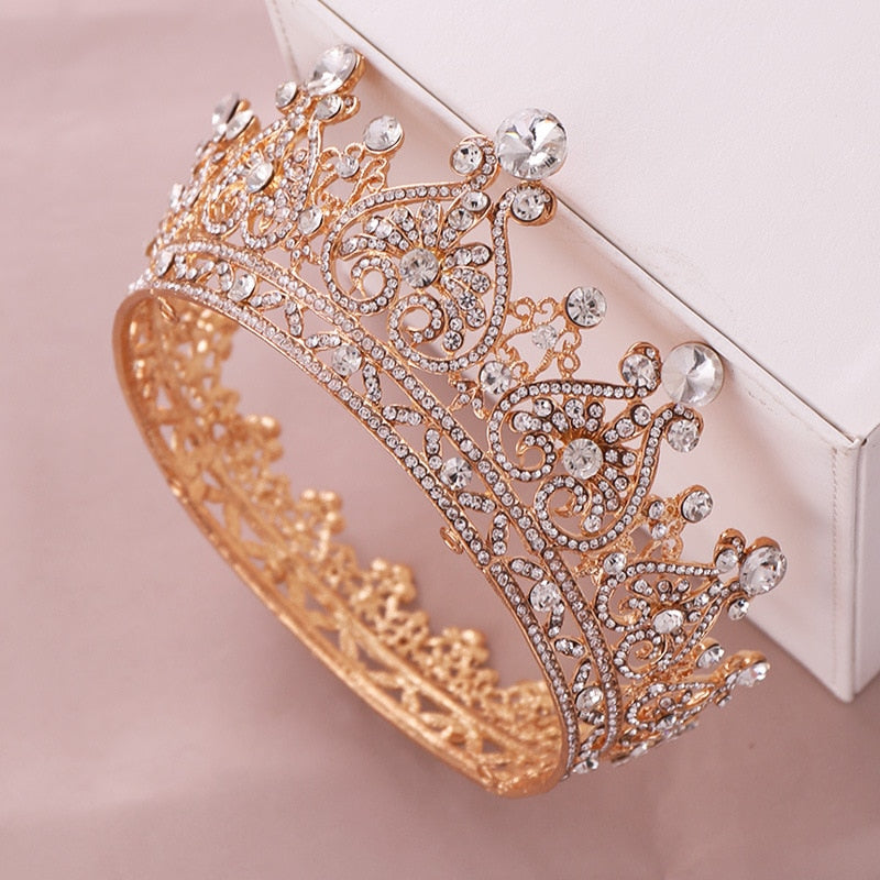 Trendy Wedding Crown Baroque Rhinestone Crystal Crown Headband Gold Crown Wedding Hair Accessories Bridal Crown Hair Accessories