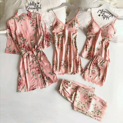 5PC Women Pajamas Sets Sexy Lace Satin Robe Bathrobe Trousers Shorts Lingerie Set Pajamas Sleepwear With Chest Pads 2020