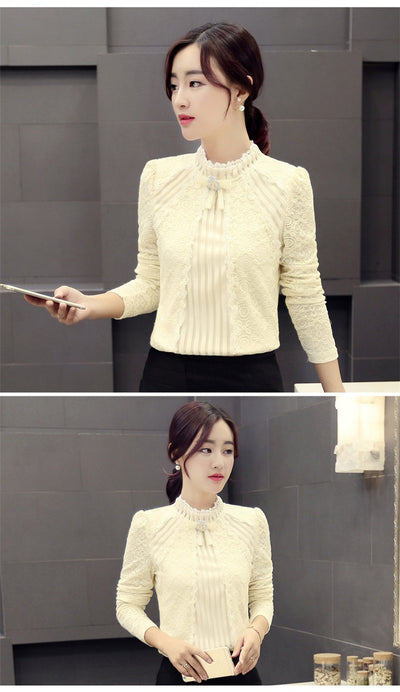 2018 Autumn Winter Fashion Lace Blouse Long Sleeve Slim Floral Lace Shirt Womens Tops and blouses Elegant Plus Size Tops 801G 25