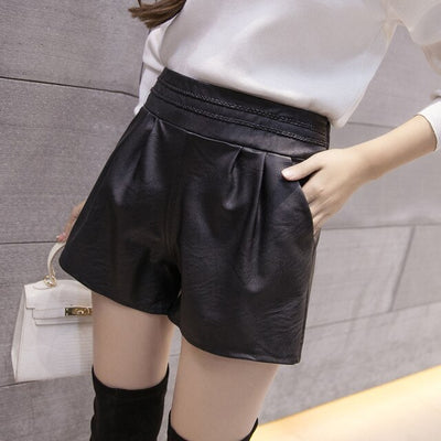 shorts women plus size black shorts women high waisted black leather shorts for women Straight Solid Elastic Waist 1915 50