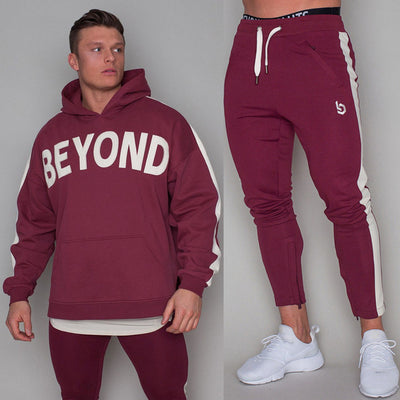 New Hoodie Pants Set Men Tracksuit Brand Sportswear Casual Loose Sweatshirt Jogger Sporty Sweatpants Male Cotton Hooded Pullover