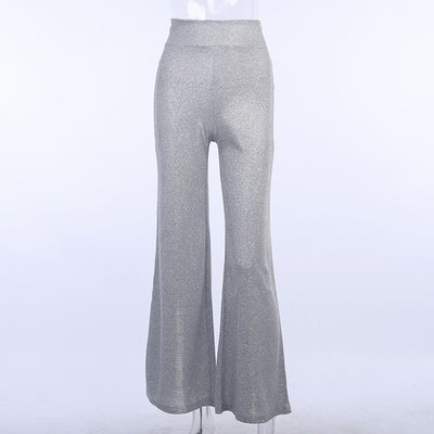 Silver Shiny Wide Leg Pants Women's High Waist Loose Casual Trousers Women 2020New Fashion Streetwear