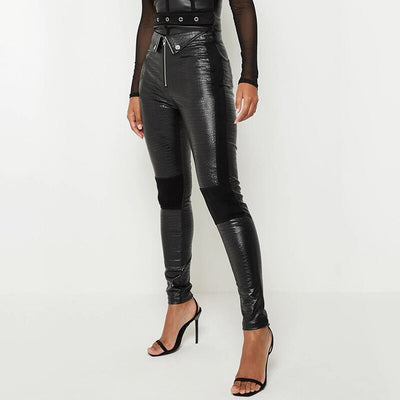 Faux Crocodile Leather Pants Patchwork Slim Skinny Zipper Ladies Black Pantalones Mujer Streetwear Leather Trouser Autumn Women