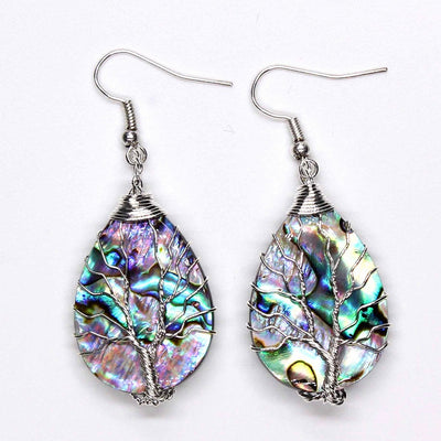 Trendy-beads Personalized Silver Plated Wire Wrap Water Drop Abalone Shell Earrings Charm Jewelry