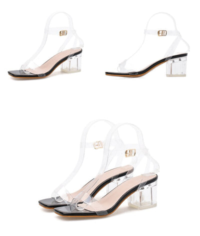 Eilyken Black Silver Snake grain PVC Transparent Buckle Strap Square Head Clear Crystal Heel Women Summer Sandals Party Shoes