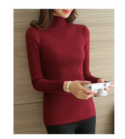 2019 Winter Turtleneck Pullovers Fashion Womens Sweaters  Solid Long Sleeve White and Black Tops Sweaters Femme Clothing 5218 50