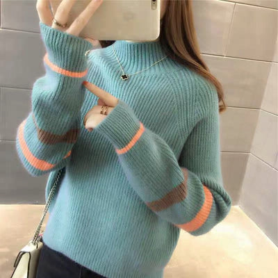 2019 Yellow Sweater Autumn Knitted Pullover Sweater Women Pull Turtleneck Sweaters  Female Cotton Soft Tops 6572 50
