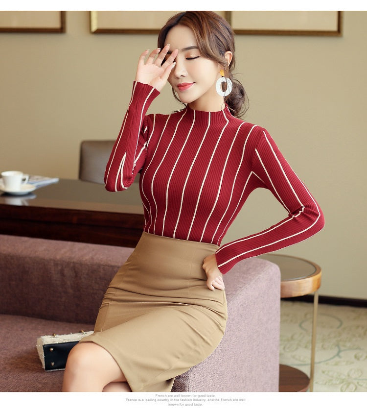 sweaters fashion 2019 women autumn long sleeve pullovers sweaters slim striped turtleneck knitted sweater women clothes 1326 45