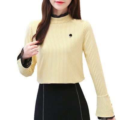 Casual Butterfly Sleeve Women Tops Office Lady 2019 Autumn Women Chiffon Blouses Long Sleeve Lace Striped Women Clothing 5419 50
