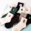 Women Socks Milk Box Beard Rose Heart Radio Embroidery Cotton New Harajuku Funny Cartoon Black White Short Socks Novelty Korean