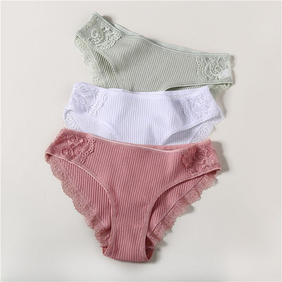 Cotton Panty 3Pcs/lot Solid Women's Panties Comfort Underwear Skin-friendly Briefs For Women Sexy Low-Rise Panty Intimates L XL