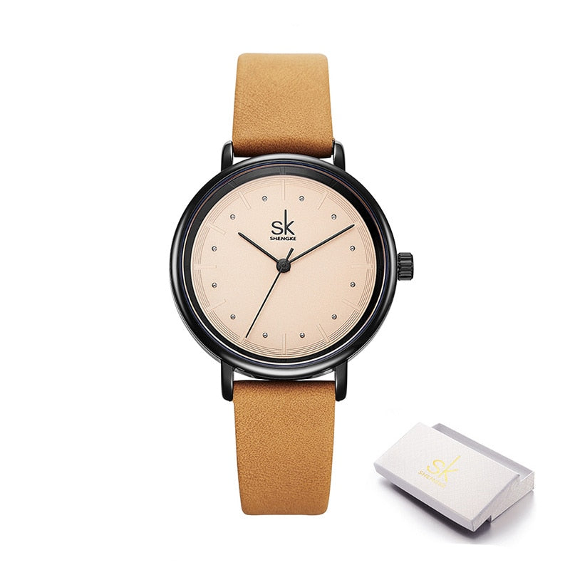 Color Unique Simple Women Watches Retro Leather Dress Female Clock Top Brand Women's Fashion Wristwatches Montre Femme