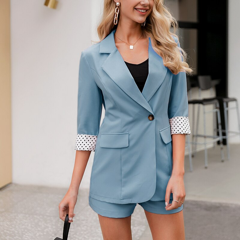 BerryGo Two-piece women plaid blazer suit Double breasted high street female blazer shorts set Business office ladies blazer set