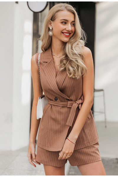 Simplee Elegant sleeveless blazer vest suit Striped sash belt female jacket shorts set Double breasted spring summer women sets