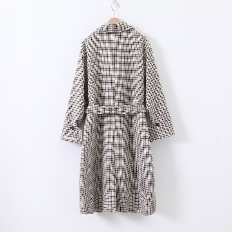women vintage plaid long coat with slashes 2020 winter elegant thick office ladies warm jacket pockets femme outwear