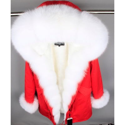 MaoMaoKong natural real fox fur Jacke coat Real Fox Fur Collar Cuff Hooded Coat Short Parka Long Camouflage winter jacket