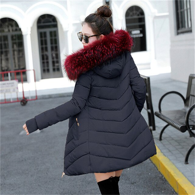 winter jacket women 2019 Winter Female Long Jacket Winter Coat Women Wine red fur collar Warm Woman Parka Outerwear Down Jacket