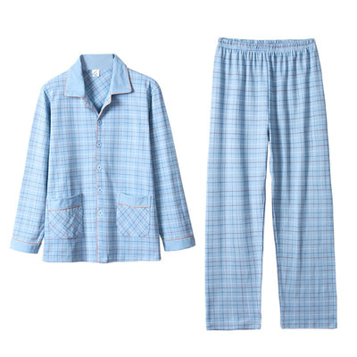 Plaid 100% Cotton Sleepwear Men Warm Long Sleeves Button-Down Pajamas Set 2Pieces Mens Soft Pure Cotton Nightwear PJs Blue