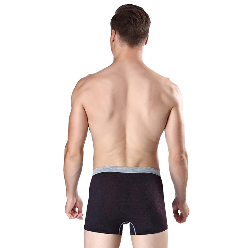 BURJOLINE Men's Underwear Mid-Waist Comfort Ice Silk Breathable U-bulk Underwear Men's Boxer Shorts R8866
