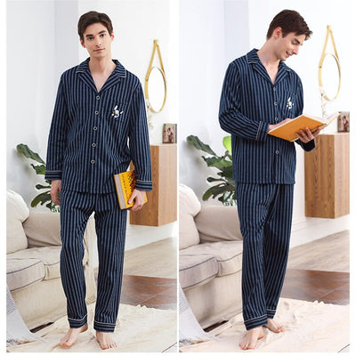 Couple Pajamas 2019 100% Cotton Cardigan Long-Sleeved Men And Women Pajamas Stripe Embroidered Lapel Couple Home Suit Sleep Wear