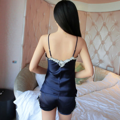 Ladies Sexy Silk Satin Lace Pyjama Set Sleeveless Pijama Set V-neck Sleepwear Summer Home Wear Sleep Wear For Women