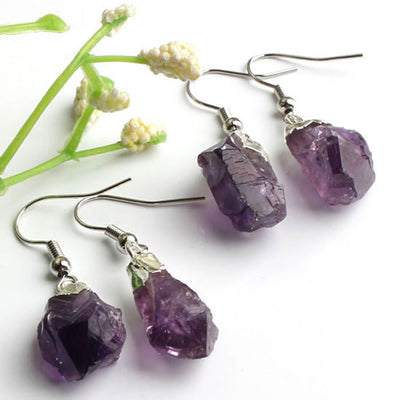 Trendy-beads Popular Silver Plated Irregular Shape Stone Natural Purple Amethysts Quartz Earrings For Women Designs Jewelry