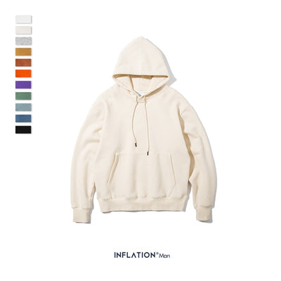 INFLATION 2019 AW Mens Hoodies Thick Fleece Hoodies Hip Hop 11 Colors Pure Hoodies Thick Velvet Fabrics Winter Men Hoodies167W17