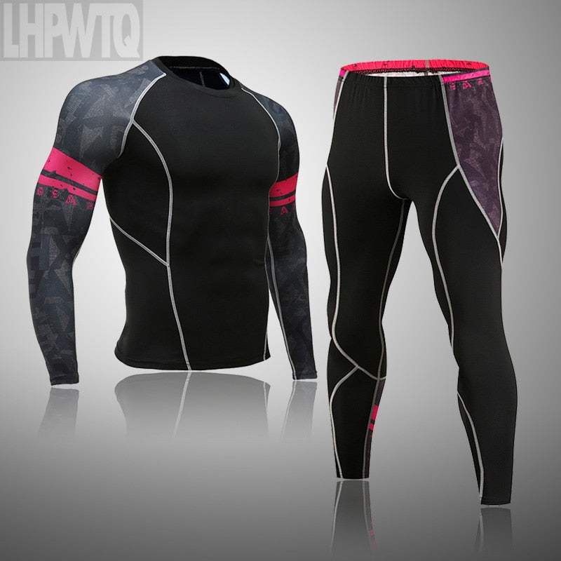 2019 men's thermal underwear suit MMA rash guard tactics leggings Solid color fitness Men compression suit clothing brands men