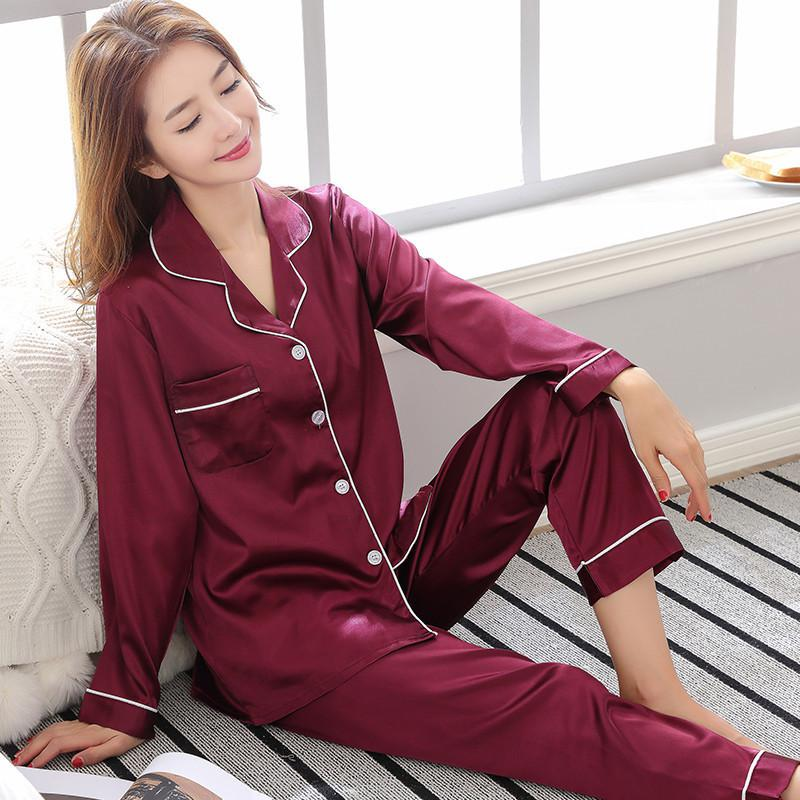 Purple Spring Women Sexy Nightwear 2pc Shirt Pants Sleep Pajamas Sets Sleepwear Faux Silk Silky Nightgown Robe Bath Gown Clothes